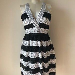 Kate Spade New York Colorblock Striped lace V-Nec